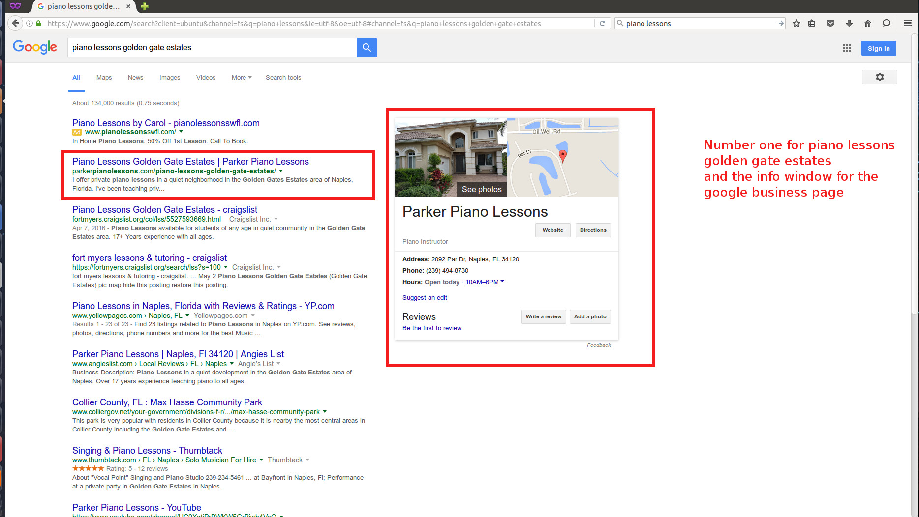 The result of expert seo work.  We can be your Naples SEO Expert
